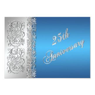 25th Anniversary Ornate Silver Scrolls with Blue 13 Cm X 18 Cm Invitation Card