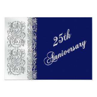 25th Anniversary Ornate Silver Scrolls with Navy 13 Cm X 18 Cm Invitation Card