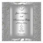 25th Anniversary Party Damask Silver Grey Custom Invitation