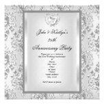 25th Anniversary Party Damask Silver White 2 Personalized Invitation