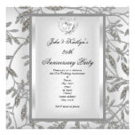 25th Anniversary Party Damask Silver White Personalised Announcement