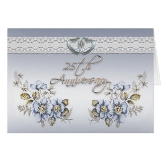 25th Anniversary Party elegant blue floral Card