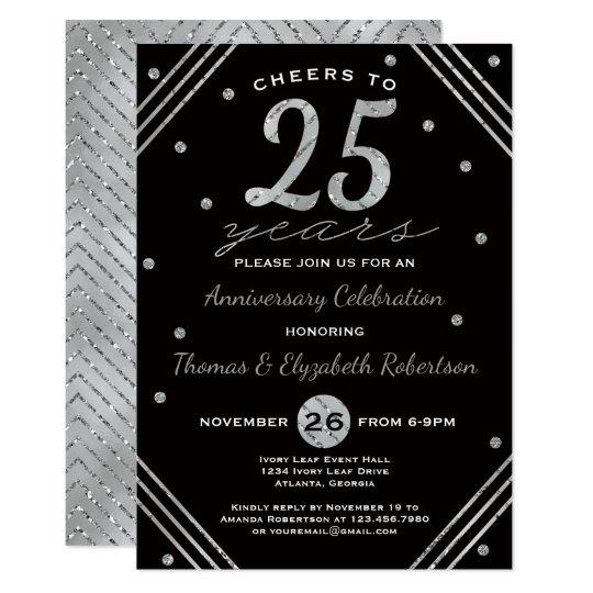 25th Anniversary Party Invitation, Faux Silver Card