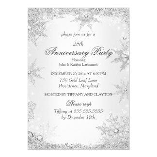 25th Anniversary Party Silver Winter Wonderland 13 Cm X 18 Cm Invitation Card