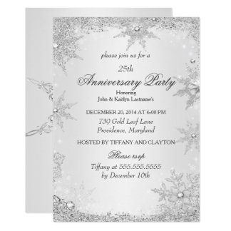 25th Anniversary Party Silver Winter Wonderland Card