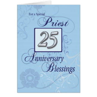25th Anniversary Priest Blue Swirl Congratulations Greeting Card