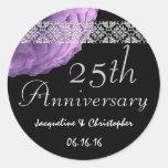 25th Anniversary PURPLE SILVER BLACK Rose Sticker