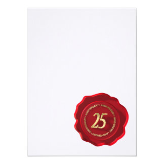 25th anniversary red wax seal personalized announcement