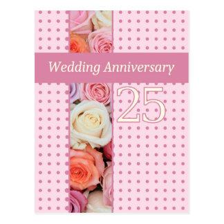 25th anniversary rose invitation postcard