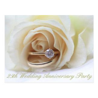 25th anniversary rose invitation post card