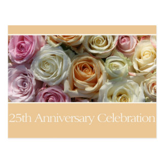 25th anniversary rose invitation postcards