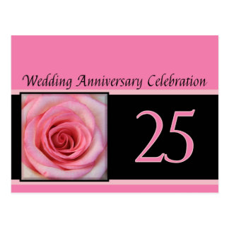 25th anniversary rose invitation postcard