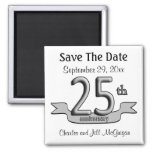 25th Anniversary Save The Date Party Favours Square Magnet
