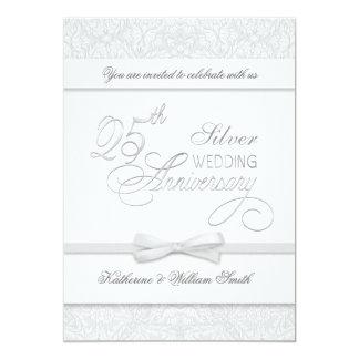 """25th Anniversary Silver Anniversary Invitations 5"""" X 7"""" Invitation Card"""