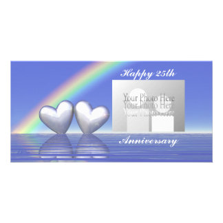 25th Anniversary Silver Hearts Personalised Photo Card
