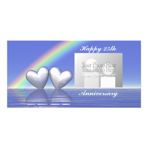 25th Anniversary Silver Hearts Customized Photo Card