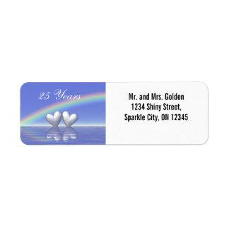 25th Anniversary Silver Hearts Return Address Label