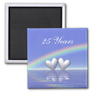 25th Anniversary Silver Hearts Square Magnet