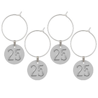 25th Anniversary Silver Numeral 25 Wine Charms
