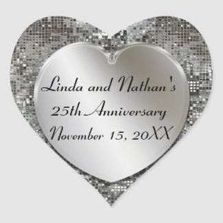 25th Anniversary Silver Sequins Heart Stickers