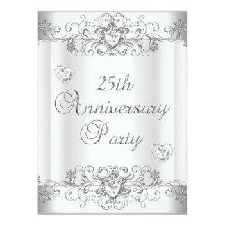 """25th Anniversary Silver White Diamond Hearts 5.5"""" X 7.5"""" Invitation Card"""