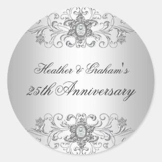 25th Anniversary Silver White Diamond Sticker