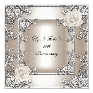 25th Anniversary Wedding Cream Rose Silver Party 13 Cm X 13 Cm Square Invitation Card