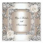 25th Anniversary Wedding Cream Rose Silver Party Personalised Announcements