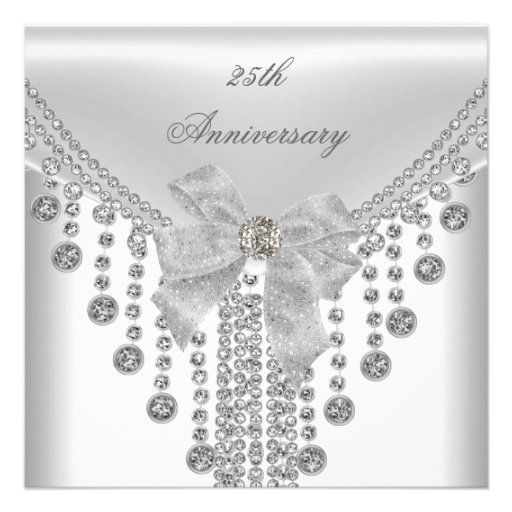 25th Anniversary White Silver Overlay Bow Jewel Personalized Invites