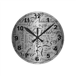 25th Anniversary Word Art Graphic Round Clock