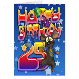 25th Birthday Card, Happy Birthday Card