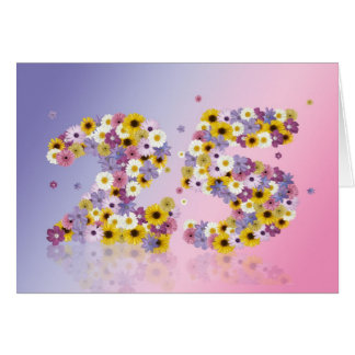 25th birthday card with flowery letters