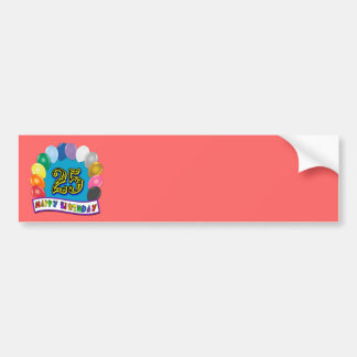 25th Birthday Gifts with Assorted Balloons Design Bumper Sticker