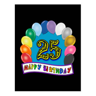25th Birthday Gifts with Assorted Balloons Design Postcard