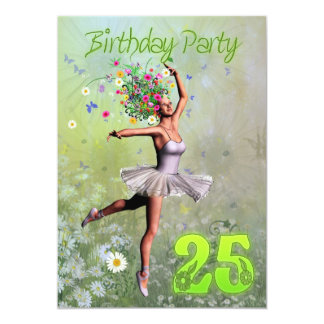 "25th Birthday party invitation 5"" X 7"" Invitation Card"