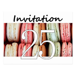 25th Birthday party invitation macaron Post Cards