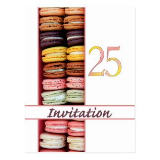 25th Birthday party invitation macaron Postcards