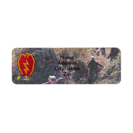 25th INF DIV infantry division veterans Vietnam Return Address Label