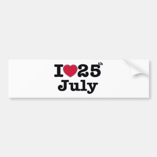 25th  july my day of birthday bumper sticker