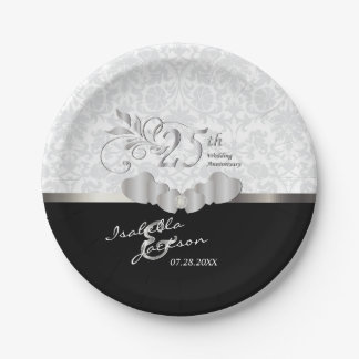 25th Silver and White Wedding Anniversary Paper Plate