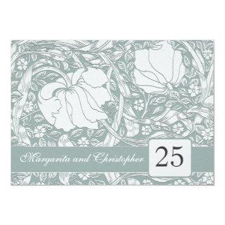 """25th silver anniversary floral invitations 5"""" x 7"""" invitation card"""
