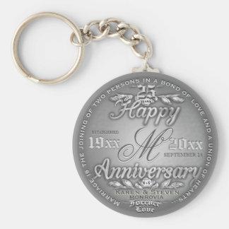 25th Silver Anniversary Monogram Key Ring