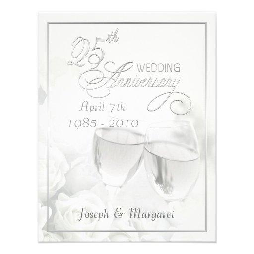 25th Silver Anniversary Party Invitations