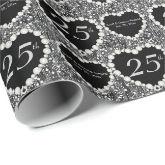 25th Silver Glitter Anniversary | DIY Text Wrapping Paper