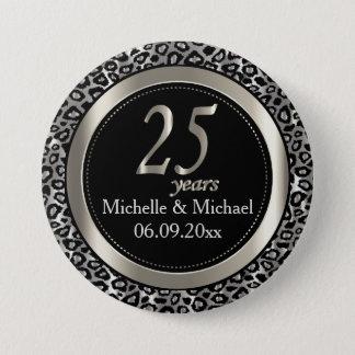 25th Silver Leopard Wedding Anniversary 7.5 Cm Round Badge