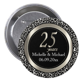 25th Silver Leopard Wedding Anniversary 7.5 Cm Round Badge