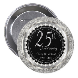 25th Silver Texture Wedding Anniversary | DIY Text 7.5 Cm Round Badge