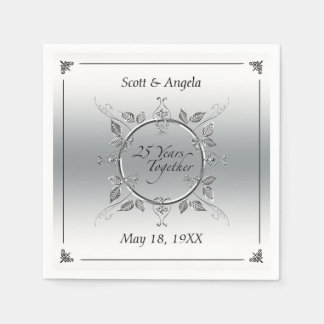 25th Silver Wedding Anniversary | 25 Years Elegant Disposable Serviettes