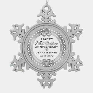 25th Silver Wedding Anniversary 4 Snowflake Pewter Christmas Ornament