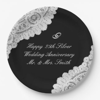 25th Silver Wedding Anniversary Black Faux Lace Paper Plate